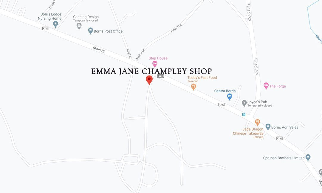 Map to The Gate Lodge Borris Emma Jane Champley Shop mobile
